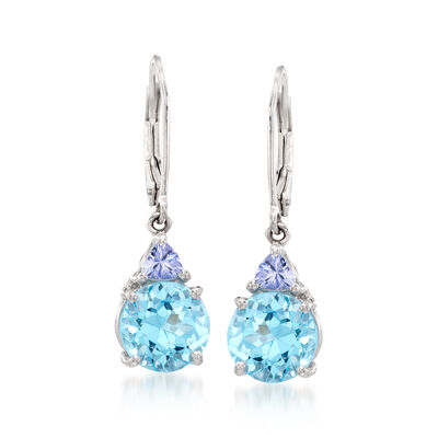 6.25 ct. t.w. Blue Topaz .40 ct. t.w. Tanzanite Drop Earrings in Sterling Silver