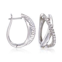 .63 ct. t.w. Diamond Crisscross Hoop Earrings in Sterling Silver, , default