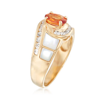 Mother-Of-Pearl and 1.30 ct. t.w. Multicolored Sapphire Ring in 14kt Yellow Gold, , default