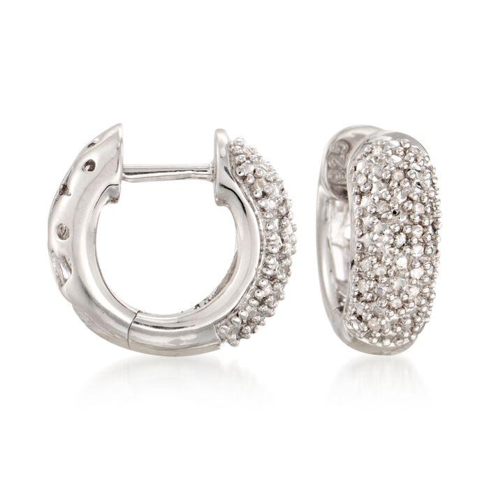 """Diamond Accent Wide Hoop Earrings in Sterling Silver. 1/2"""""""
