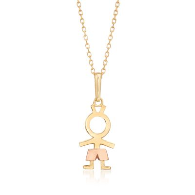 18kt Two-Tone Gold Boy Pendant Necklace, , default