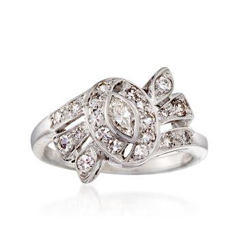 C. 1950 Vintage .55 ct. t.w. Diamond Swirl Ring in 14kt White Gold. Size 6.5, , default
