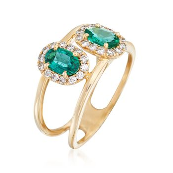 .80 ct. t.w. Emerald and .31 ct. t.w. Diamond Double Open Ring in 14kt Yellow Gold, , default