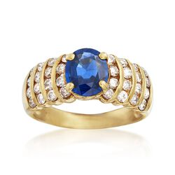C. 1990 Vintage 1.55 Carat Sapphire and .85 ct. t.w. Diamond Ring in 18kt Yellow Gold. Size 6.5, , default