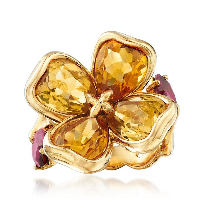 C. 2000 Vintage Chanel 7.00 ct. t.w. Citrine and 1.40 ct. t.w. Rhodolite Garnet Flower Ring in 18kt Yellow Gold. Size 6