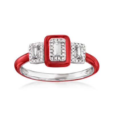 .25 ct. t.w. Diamond Ring with Red Enamel in 18kt White Gold