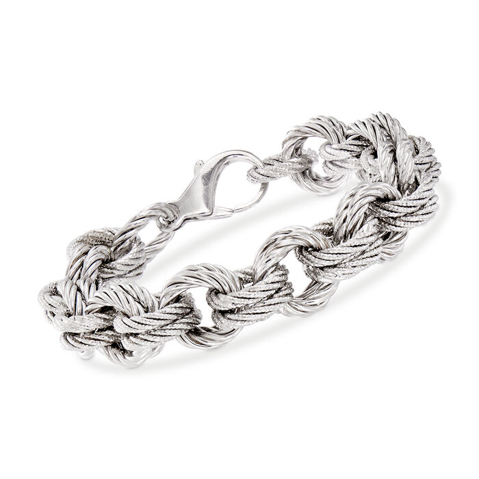 "Italian Sterling Silver Textured Double Cable-Link Bracelet. 7.5"", , default"