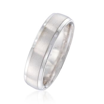 Men's 6.5mm 14kt White Gold Brushed and Polished Wedding Ring
