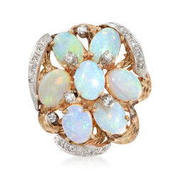 C. 1970 Vintage Opal and .50 ct. t.w. Diamond Cluster Ring in 14kt Yellow Gold, , default