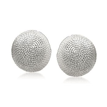 Sterling Silver Roped Dome Earrings, , default