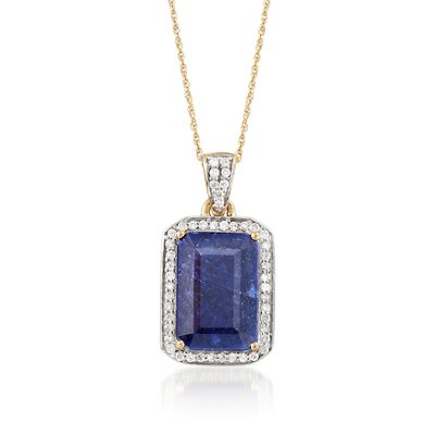 6.50 Carat Sapphire and .24 ct. t.w. Diamond Pendant Necklace in 14kt Yellow Gold, , default