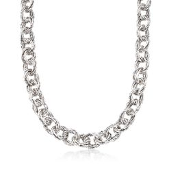 Sterling Silver Textured Multi-Circle Link Necklace, , default