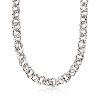 """Sterling Silver Textured Multi-Circle Link Necklace. 18.5"""", , default"""