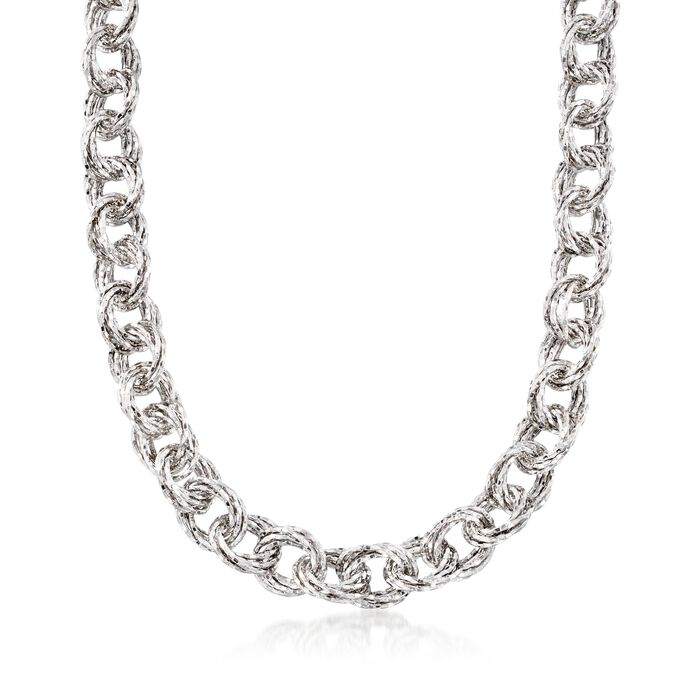 "Sterling Silver Textured Multi-Circle Link Necklace. 18.5"", , default"