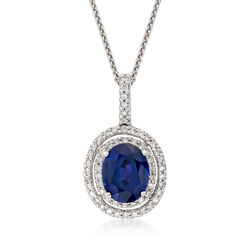 4.20 Carat Sapphire and .60 ct. t.w. Diamond Double Halo Pendant Necklace in 14kt White Gold, , default