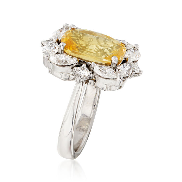 C. 1990 Vintage 4.65 Carat Yellow Sapphire and 1.85 ct. t.w. Diamond Ring in 18kt White Gold