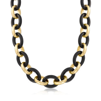 Andiamo 23x18mm Black Onyx Link Necklace with 14kt Yellow Gold Over Resin with Magnetic Clasp, , default