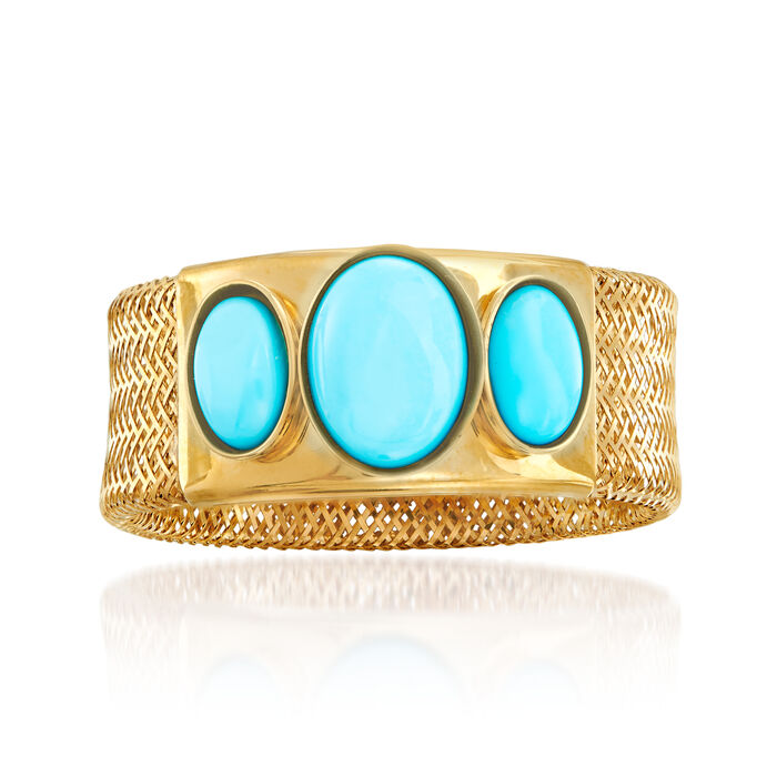 Italian Turquoise Mesh Ring in 14kt Yellow Gold, , default