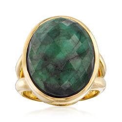 13.00 Carat Oval Emerald Ring in 18kt Gold Over Sterling, , default