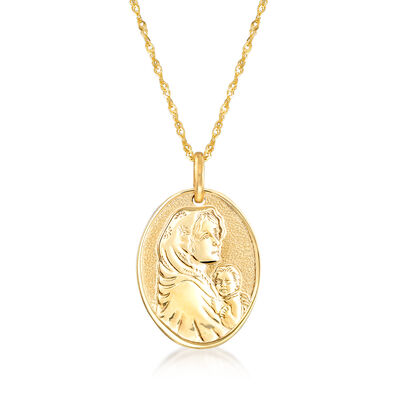 Italian 14kt Yellow Gold Blessed Mother Adjustable Pendant Necklace, , default