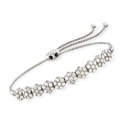 2.00 ct. t.w. Diamond Floral Bolo Bracelet in 14kt White Gold