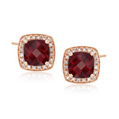 2.45 ct. t.w. Garnet and .16 ct. t.w. Diamond Stud Earrings in 14kt Rose Gold