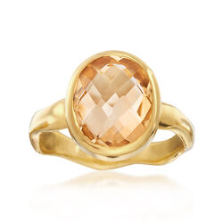3.50 Carat Oval Citrine Ring in 18kt Yellow Gold Over Sterling Silver, , default