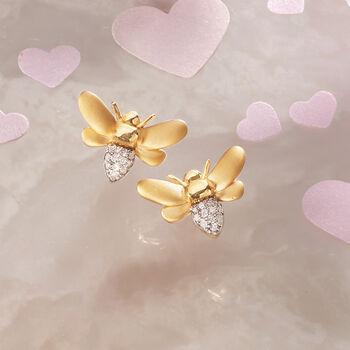 .10 ct. t.w. Diamond Bee Earrings in 14kt Gold Over Sterling