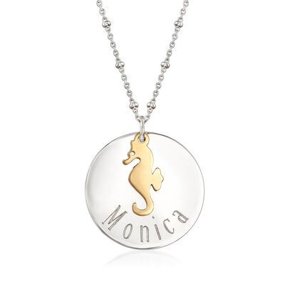 Sterling Silver Personalized Disc Necklace with 14kt Yellow Gold Seahorse Charm, , default