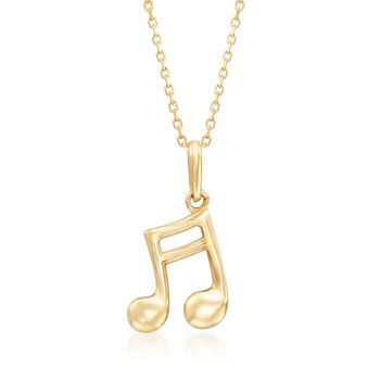 "18kt Yellow Gold Music Note Pendant Necklace. 18"", , default"