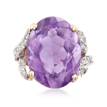 C. 1970 Vintage 22.25 Carat Amethyst and .35 ct. t.w. Diamond Cocktail Ring in 14kt Two-Tone Gold. Size 4.5, , default