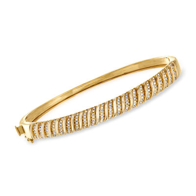 .50 ct. t.w. Diamond Bangle Bracelet in 18kt Gold Over Sterling, , default