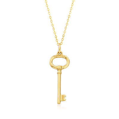 C. 1980 Vintage Tiffany Jewelry 14kt and 18kt Yellow Gold Key Pendant Necklace, , default