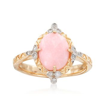 Pink Opal and Diamond-Accented Ring in 14kt Yellow Gold, , default