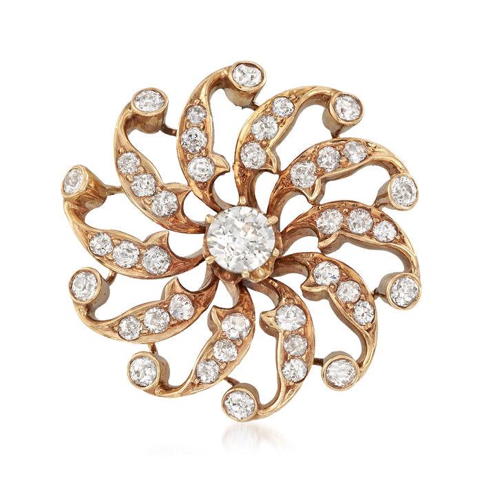 C. 1950 Vintage 1.60 ct. t.w. Diamond Swirl Pin in 14kt Yellow Gold