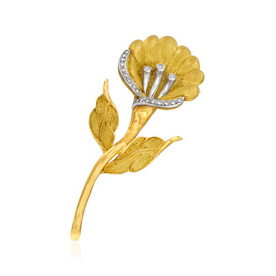 C. 1970 Vintage .30 ct. t.w. Diamond Flower Pin in 18kt Yellow Gold and Platinum