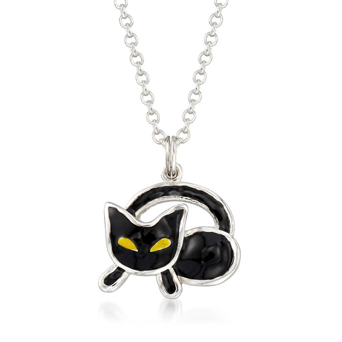 Black and Yellow Enamel Cat Pendant Necklace in Sterling Silver, , default