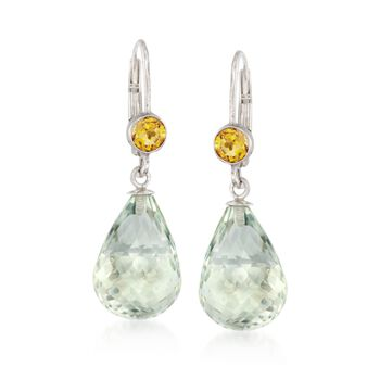 15.00 ct. t.w. Green Amethyst and .80 ct. t.w. Citrine Earrings in Sterling Silver , , default