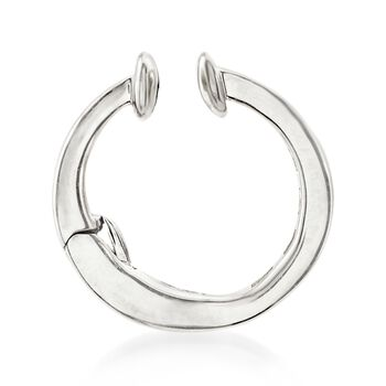 Baguette Diamond-Accented Single Ear Cuff in 14kt White Gold, , default