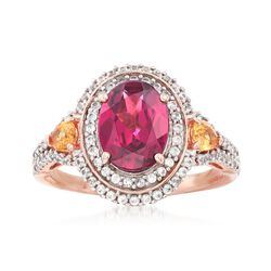 2.50 Carat Rhodolite Garnet and .30 ct. t.w. Yellow Garnet Ring With .50 ct. t.w. White Sapphire in 14kt Rose Gold, , default
