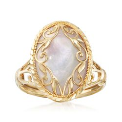 Mother-Of-Pearl Scroll Ring in 14kt Yellow Gold, , default