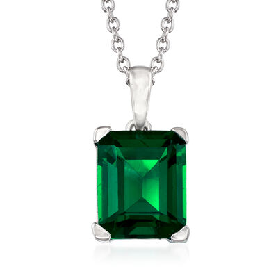 4.00 Carat Simulated Emerald Pendant Necklace in Sterling Silver, , default