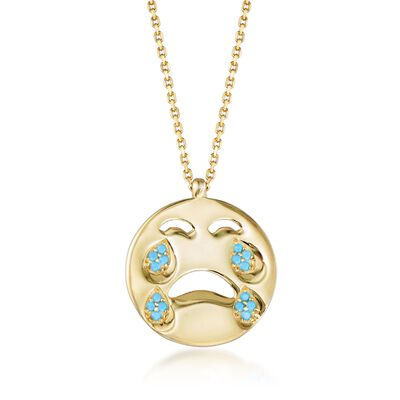 14kt Yellow Gold Over Sterling Crying Emoji Necklace with Simulated Turquoise , , default