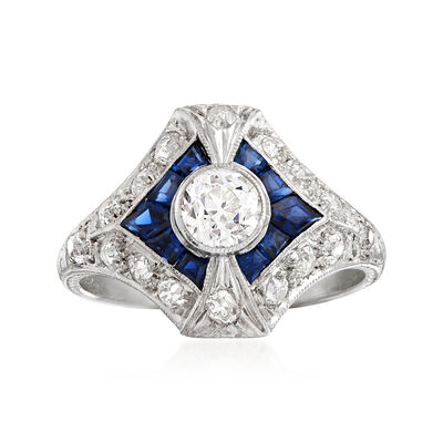 C. 1930 Vintage .70 ct. t.w. Diamond and .40 ct. t.w. Sapphire Ring in Platinum, , default