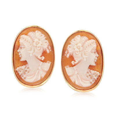 Italian Shell Cameo Earrings in 14kt Yellow Gold, , default