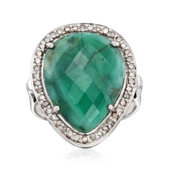13.00 Carat Pear-Shaped Opaque Emerald and .37 ct. t.w. Champagne Diamond Ring in Sterling Silver, , default
