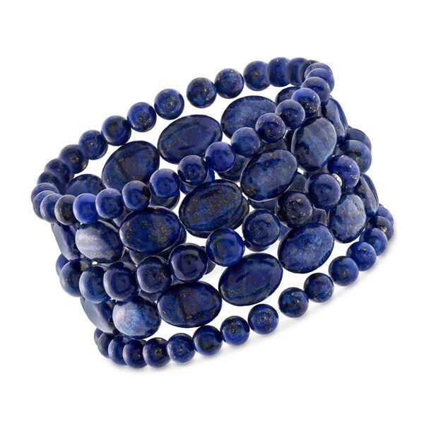 Lapis Jewelry Set: Five Bead Stretch Bracelets #900467