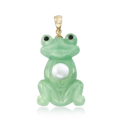 7mm Cultured Pearl and Green Jade Frog Pendant with 14kt Yellow Gold, , default