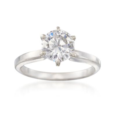 C. 2000 Vintage 1.35 Carat Diamond Solitaire Ring in 14kt White Gold, , default