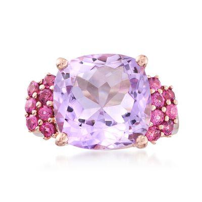 4.90 Carat Pink Amethyst and .60 ct. t.w. Rhodolite Garnet Ring in 18kt Rose Gold Over Sterling, , default